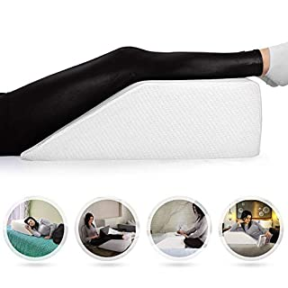 Abco Tech Elevating Leg Rest Memory Foam Pillow - Reduce Back Pain, Hip Pain & Knee Pain - Ideal Sleeping, Reading, Rest Elevation - Breathable & Washable Cover (8 inch Wedge, White)