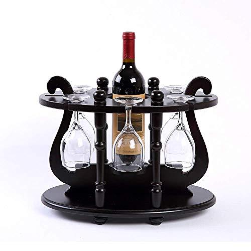 KOSHSH Retro Holz Weinregal Flaschenhalter Aus Unbehandeltem Holz Für Tischküche Bar Wohnzimmer Schrank 1 Flaschen Kapazität Und 6 Weinglas -