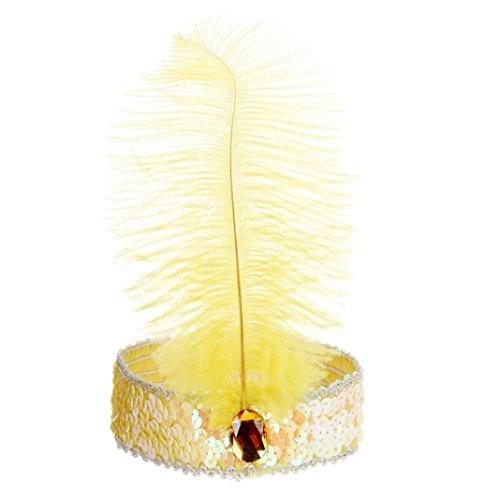 Bodya Haarband 20's Deluxe gelb silber Flapper Pailletten Charleston Kleid Kostüm Haarband (1930's Kostüme Dance)
