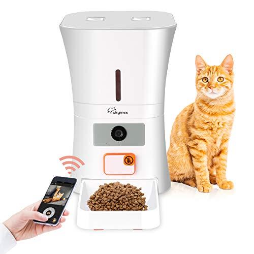 SKYMEE Futterautomat mit Timer, Automatischer Futterspender für Katze und Hunde, Smart Pet Feeder Große Kapazität 8 Liter akustischer Benachrichtigung mit App