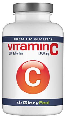 Vitamin C 1000mg Hochdosiert - Der VERGLEICHSSIEGER 2019* - 200 Vegane Tabletten - Bis zu 7 Monate Vollversorgung - Laborgeprüft und ohne unerwünschte Zusätze von GloryFeel