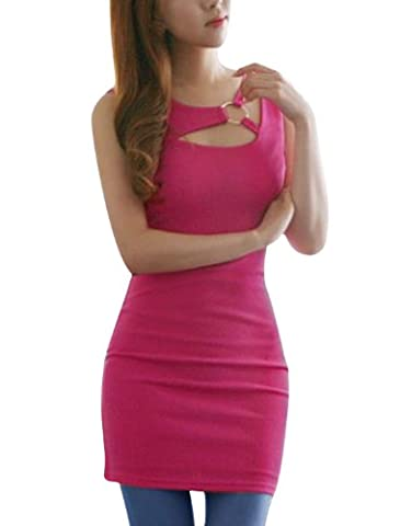 sourcingmap® Women Asymmetric Neck Sleeveless Metal Circle Decor Dress Fuchsia XS
