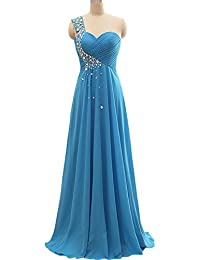 Now&Forever - Vestido de fiesta para mujer, un hombro, diseño con cristales brillantes,