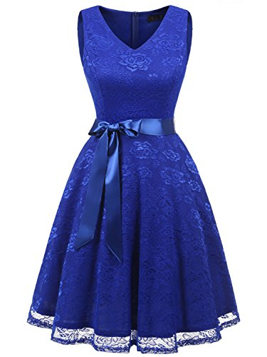 IVNIS RS90025 Damen Ärmellos Vintage Spitzen Abendkleider Cocktail Party Floral Kleid Royalblue 2...