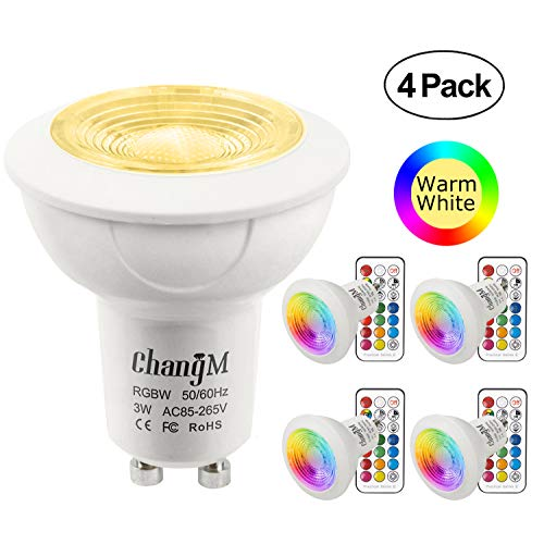 Bombillas LED Foco GU10 Blanco Calido RGBW 3W Colores Lámparas Bombillas regulable...