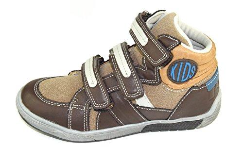 807-808 Hohe Kinder Lederschuhe/ Sneaker mit Klettverschluss in Braun Gr.: 25-36 Braun