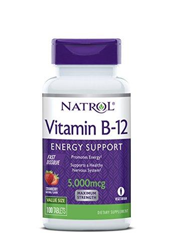 Natrol Vitamin B-12 Fast Dissolve, Vitamina B12 con Disolución Rápida En La Boca, Sabor Fresa, 5000 mcg, 100 Tabletas