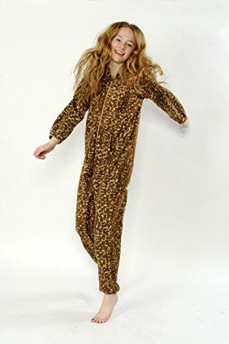 CrazyGadget Pyjama combinaison élastique unisexe pour homme ou femme en polaire douce avec capuche–pour la maison, pour offrir, pour les fêtes Multicolore - leopard Brown