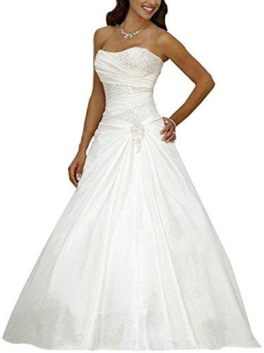 Jaeden abiti da sposa lungo vestito da sposa con paillettes donne senza spalline raso bianco eur42