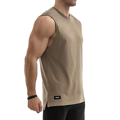 Sixlab Side Split Muscle Tank Top Fitness Shirt Gym Herren (XL, Braun) -