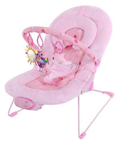 Silla mecedora de lujo reclinable, vibradora y musical para bebé, Con soporte para la cabeza (rosa)