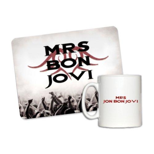 1StopShops - Set da regalo composto da tazza e tappetino del mouse di Bon Jovi