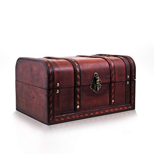 Schatztruhe Caribe - Kiste mit Schloss und Schlüssel - Holztruhe, Schatzkiste 28x19x15cm groß - Ideal als Geschenkebox für z.B. Hochzeit und Geburtstag