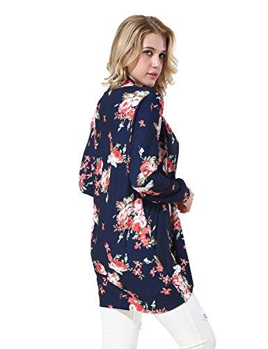 Yidarton Donna Cardigan Lungo Stampa Floreale Manica Lunga Kimono Casual Giacca Tops Blu scuro