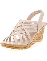 Sandalias Mujer Verano,Mujer alta plataformas cortadas patrón de bandas de Gladiador sandalia zapatos LMMVP