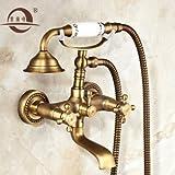 Bijjaladeva Wasserhahn Bad Wasserfall Mischbatterie WaschbeckenAntike Einfache Dusche Voll Kupfer Booster Sprinkler Set Drei Badezimmer,heißes und Kaltes Bad Armatur Dusche und EL