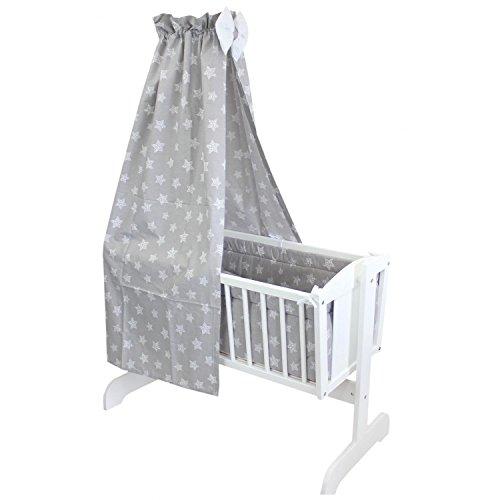 TupTam Unisex Baby Wiegen-Set 6-tlg, Farbe: Tupfen-Sterne Weiß/Grau, Anzahl der Teile:: 6 tlg. Set
