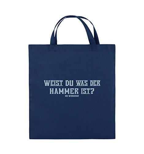 Comedy Bags - WEIST DU WAS DER HAMMER IST? - Jutebeutel - kurze Henkel - 38x42cm - Farbe: Schwarz / Silber Navy / Eisblau
