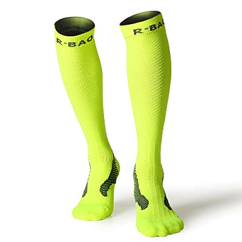 WADUANRUN Kompressionsstrümpfe Sport Herren & Damen Long Tube Reitsocken Nachtlauf Long Tube Kompressor Dosenstrümpfe Leggings Socken grün