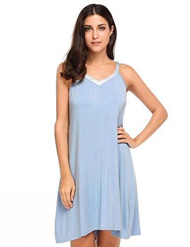 Ekouaer Damen Nachthemd Sommer Casual V-Ausschnitt Ärmellos Nachtkleid Pullover trägerlos Gemütlich Nachtwäsche Schwarz/Grau/Blau((S-XXL)