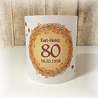 4er Set Tischlicht Tischlichter Blätter runder Geburtstag 40 50 60 70 80 90 Tischdeko personalisierbar dunkelrot orange Herbst