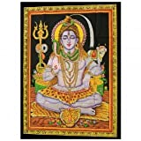 Indien Baumwoll Wandtuch Shiva sitzend Indische Gottheit kräftige Farben 75 x 110 cm