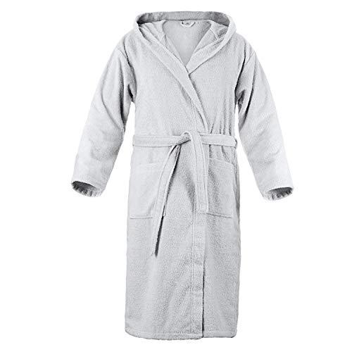 Twinzen Peignoir de Bain à Capuche, Eponge Coton pour Homme (M, Gris Etain), 2 Poches, Ceinture Certifié Oeko TEX - Robe de Chambre - Sortie de Bain Douce, Absorbante et Confortable