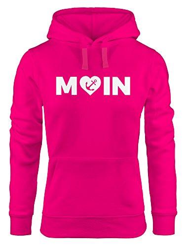 MoonWorks Cooler Kapuzen-Pullover Damen Moin Love Herz mit Anker Nordsee Hoodie pink L (Hoodie-l Love Damen Pink)
