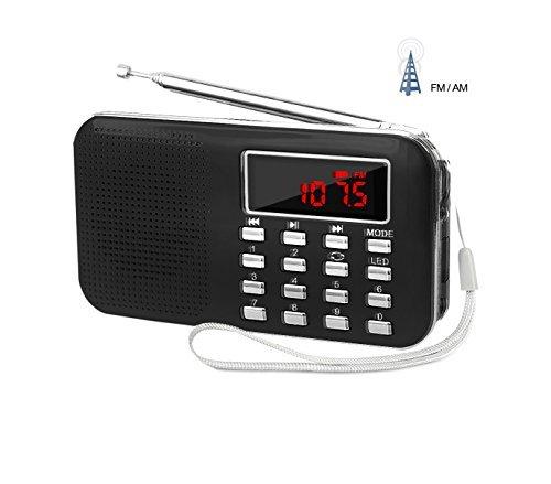 Lefon Mini Digital AM+FM Radio Media Lautsprecher MP3 Musik Player unterstützt TF-Karte/USB-Disk mit LED-Display und Notfall-Taschenlampenfunktion Schwarz