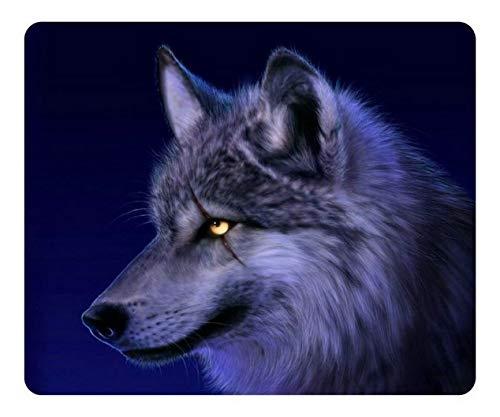 Spiel-Mausunterlage kundengebundener Naturkautschuk Mousepad Wolf-Blaue längliche Mausunterlage MP7741