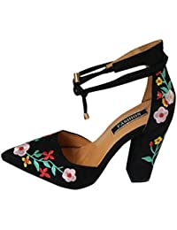PAOLIAN Zapatos de Tacón Ancho Altas para Mujer Verano Chinoiserie 2018  Moda Bar Clásicos Club Zapatos 6be8219b6740