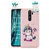 HopMore Funda para Xiaomi Redmi Note 8 Pro Silicona Blando Dibujo 3D Divertidas Panda Animal Carcasa TPU Ultrafina Slim Case Antigolpes Caso Protección Cover Design Gracioso - Unicornio Rosa