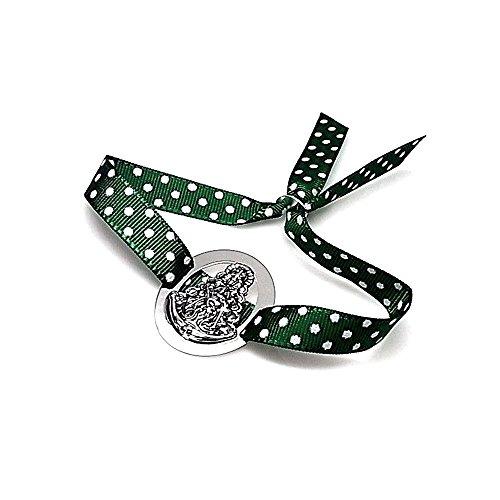 Pulsera plata Ley 925m Virgen Rocío lazo verde lunares [AB1100]