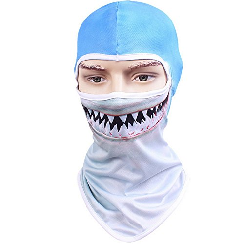 Shujin Unisex Outdoor Maske Multifunktionen Sturmhaube Gesichtsmaske Motorrad Ski Snowboard Fahrrad Maske mit Lustig 3D Tier Motiv Printed Hals Kopftuch (Hai, One Size)