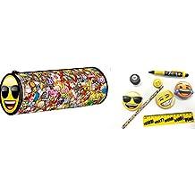 Emoji -Conjunto escolar con estuche lápiz, bolígrafo, goma de borrar, regla, sacapuntas y notas adhesivas, diseño emoji