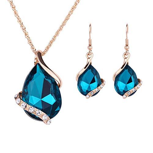 TeasyDay Retro Halsketten für Frauen, Frauen Hochzeitsfest Brautschmuck Set, Mädchen Halskette Ohrringe Ring gesetzt