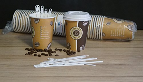 100 Cafe to go Kaffeebecher 300 ml PREMIUM mit 100 Deckel Coffee to go Heissgetränkebecher + 100 Rührstäbchen, 14 cm weiss Tee Pappbecher von Gastro-Bedarf-Gutheil®