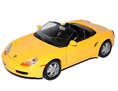 Porsche Boxster 986 Cabrio Offen Gelb 1996-2004 1/24 Welly Modell Auto mit individiuellem Wunschkennzeichen (Porsche Boxster Roadster)