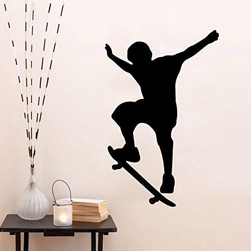 Wandaufkleber Kinderzimmer Wandtattoo Black Men SKi Sport Wandaufkleber für Wohnzimmer Jungen Schlafzimmer Skate Fans Schlafzimmer