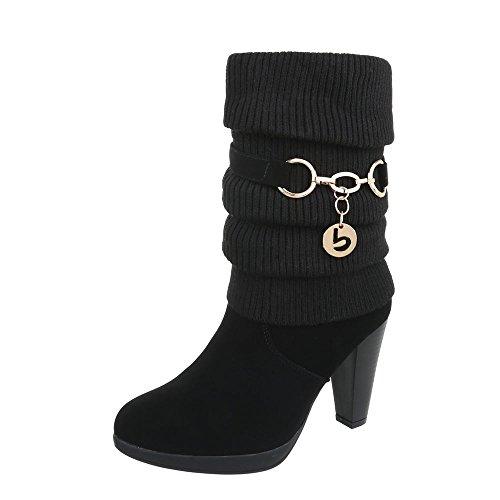 Ital-Design High Heel Stiefeletten Damen-Schuhe High Heel Stiefeletten Pfennig-/Stilettoabsatz High Heels Reißverschluss Stiefeletten Schwarz, Gr 36, B2929-Hb-