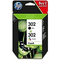 HP 302 pack de 2 cartouches d'encre Noir et Trois Couleurs (Cyan, Magenta et Jaune) Authentiques (X4D37AE) pour imprimantes HP DeskJet, HP ENVY et HP OfficeJet