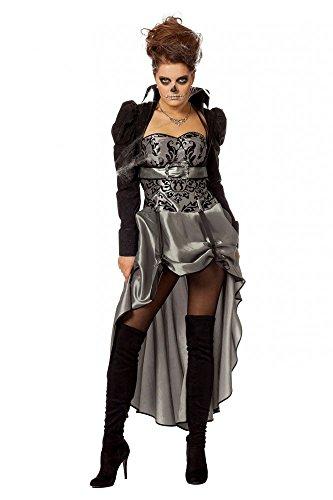 Viktorianische Lady Schwarz/Silber Damen Kostüm Kleid Barock Halloween Vampir, Größe:46