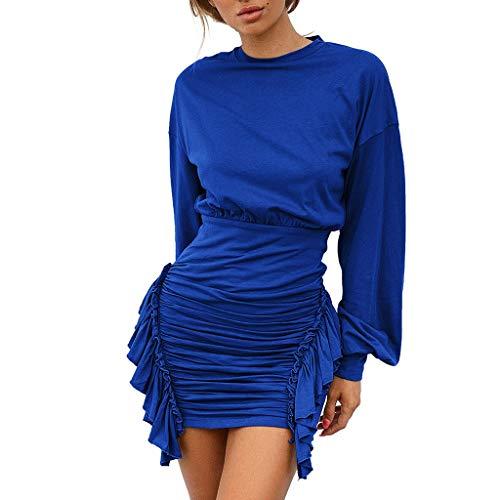 ❤Loveso❤ Damen Sexy Hohe Taille Party Kleider Mode-Design Langarm Kleider Elegant Zerzaust Hem Bodysuit Minikleid -