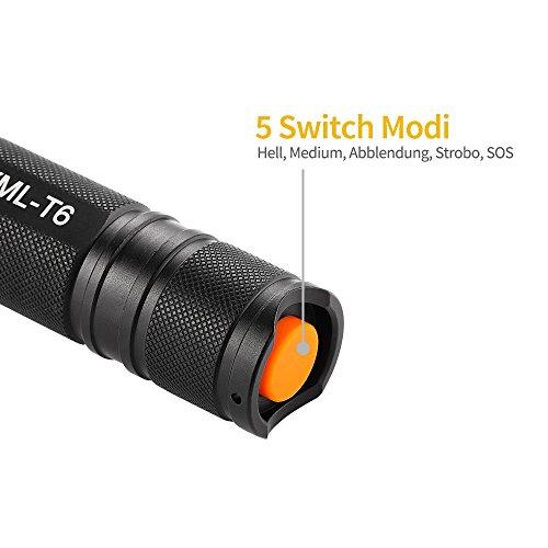 Elekin Taschenlampe 600 Lumen LED Cree T6, 5 Modis Einstellbar, IPx6 Wasserdicht für Indoor und Outdoor Sports-Schwarz - 5