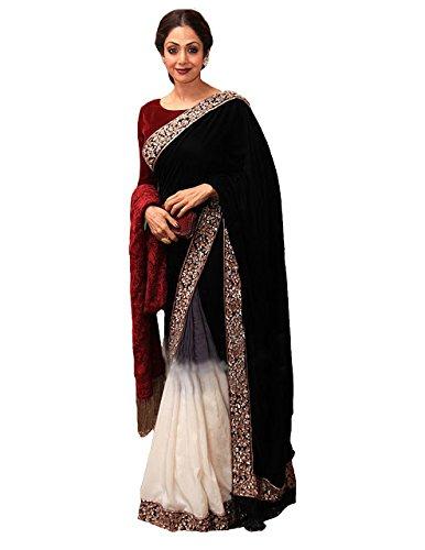 Kaavi Fab Women's Velvet Black And White Multi Work Designer Saree