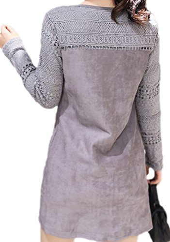 erdbeerloft - Damen Modisches Thermo Kurz Kleid aus Velourslederimitat , 38-44, Viele Farben Grau