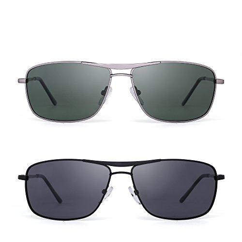 JIMHALO Polarisiert Rechteck Sonnenbrille Fahren Leicht Gewichts Federscharnier Rahmen 2 Stück Dame Herren(Grün&Schwarz/Grau)