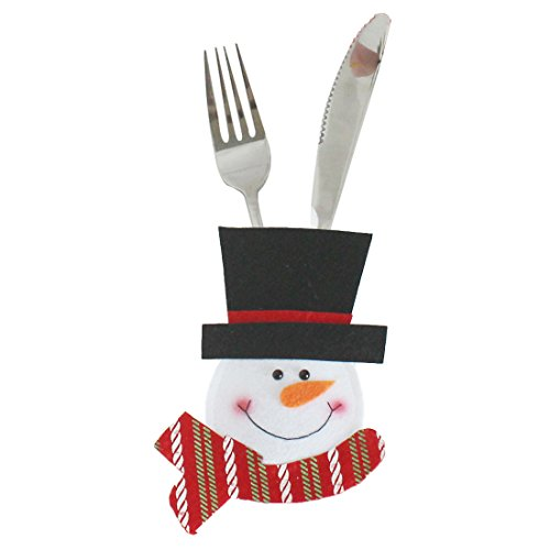 Fun Party - 1pcs Xmas Decor Lovely Snowman Tableware Holder Pocket Dinner Cutlery Bag Party Christmas Table - Gold Steel Cutlery Sets Christmas Stockings Gift Holders Cutlery Stainless Stee
