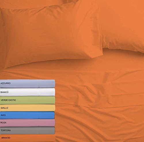 Tata home completo letto set lenzuola microfibra sotto sopra e coppia federe letto 2 piazze matrimoniale colore arancio