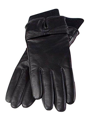 HEAT HOLDERS - Damen Schwarz Thermal Lederhandschuhe mit Heatweaver Isolierung Liner Geschenkbox (Klein/Mittel) -